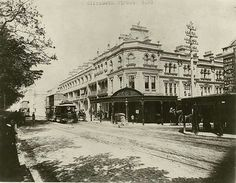 Elizabeth St,,Sydney at the corner of Market St in 1890. •State Records of NSW•