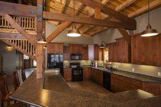 Kitchen with Breakfast Barn | Lakeside Cabin | Barn Living | Sand Creek Post & Beam https://www.facebook.com/SandCreekPostandBeam