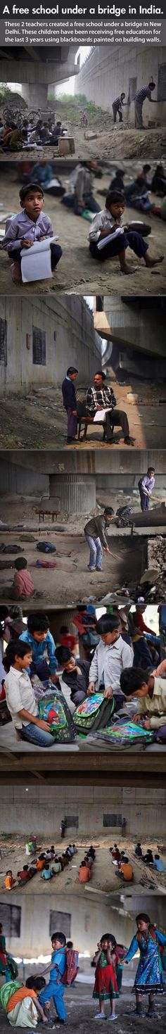 A Free School Under A Bridge In India