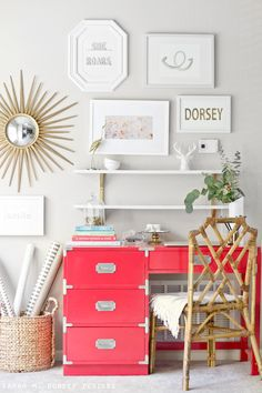 How cute is this home office? Love the bright colored desk to have a pop of color in an all white room! The gallery wall is also such a cute idea for a home office! Perfect for office inspiration!