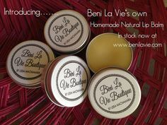 Delicious handmade Nut Free Natural Lip Balm, hand poured by myself into stylish aluminium tins with a screen top to ensure no leakage in your bag. 15g $7.50. Available in: Strawberry Chocolate Vanilla Hubba Bubba Mango Passionfruit Coconut  Also available in gorgeous cupcake pots, see our other boards for more information