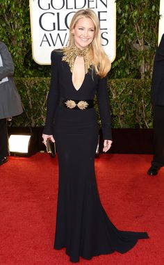 Kate Hudson from Best Dressed at the 2013 Golden Globe Awards  The actress stunned in an edgy design by Alexander McQueen featuring an embroidered neckline and a mesmerizing gold belt. A smattering of Jennifer Meyer jewels completed her red carpet look.