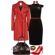 Long Red Coat and a Black Dress for Christmas, created by angela-windsor on Polyvore