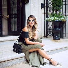 Pin for Later: 100 Easy and Breezy Summer Outfit Ideas An Off-the-Shoulder Black Top, a Green Maxi Skirt, and Espadrilles