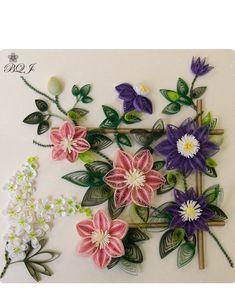 クレマチスの咲く庭 こいで あや - Botanical Quilling Japan