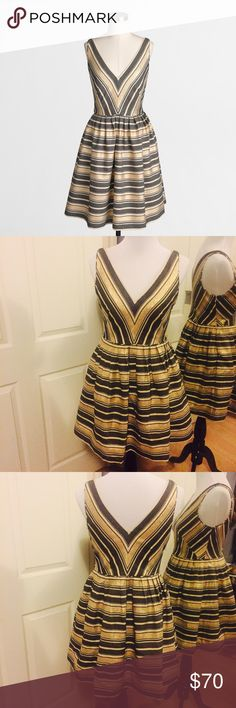 NWT J Crew Factory Petite V-Neck Flare Dress NWT adorable flare gold and metallic greenish black striped flare dress. J. Crew Dresses