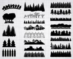 tree line silhouette Tree Clipart, Tree Svg, Forest Silhouette, Silhouette Files, Wood Png, How To Make Signs, Forest Design, Silhouette Studio Designer Edition, Vinyl Cutting