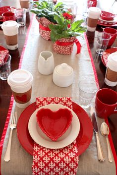 table setting for a Valentines Day breakfast