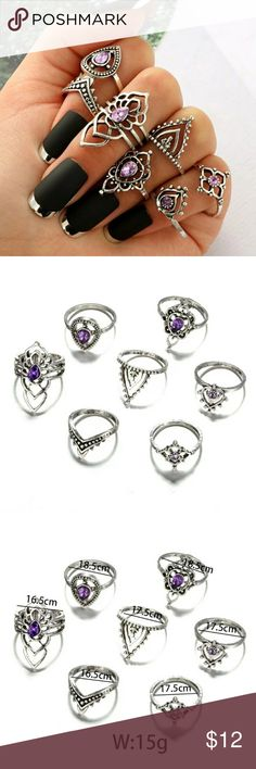 ☀️7pc BoHo Ring☀️LAST SET New Trendy 7 pc BoHo Ring Set Please see 3rd Photo for sizes ☀️Price is Firm Unless Bundled☀️ Jewelry Rings