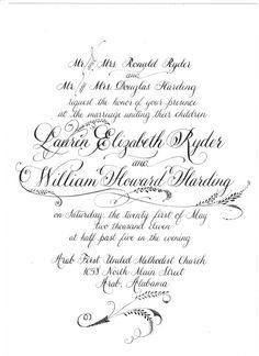 Calligraphy invitation example