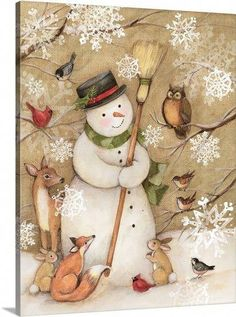 Woodland Snowman Solid-Faced Canvas Print