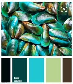 Combination of shades of turquoise color, chocolate and pale olive green is neutrally complemented with black. This color palette can be used to design a (spacious) kitchen and maybe to decorate a bathroom. Scheme Color, Colour Pallette, Color Palate, Colour Schemes, Color Combinations, Color Concept, Design Seeds, Turquoise Color, Light Turquoise