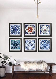 Portuguese Frame Art This pack contains 6 stick on vinyl posters & frame is not included. Size: Select the size from size drop down button left side frame Tile Poster : Portuguese style Frame Art, Pack of 6 Stickers Tile Art, Wall Tiles, Mosaic Art, Decor Interior Design, Interior Decorating, Art Encadrée, Vinyl Poster, Tuile, Tile Decals