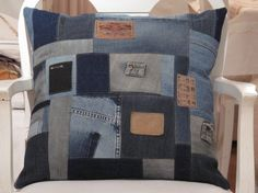 Cushion of old jeans, perfect way to use small scraps