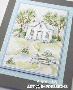 Karen Day for Art Impressions using WC Cottages and WC Bridges sets. Watercolor Paintings For Beginners, Easy Watercolor, Watercolor Cards, Watercolour Art, Painting Techniques, Art Impressions Stamps, Pastel, Creative Cards, Cardmaking