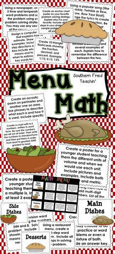 Menu Math | Differentiation | Math Activities | Math Projects | 242 differentiated math activities and projects for the whole year - a fantastic tool to use in your math classroom because it allows for differentiation, choice, fun, and creativity. Students are encouraged to think critically and creatively through the use of Menu Math.