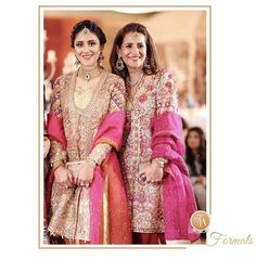 Shine on! ✨ We love how festive the mother daughter duo look wearing #FarahTalibAziz ensemble at a Mehndi in Lahore! #FTAWeddingWear