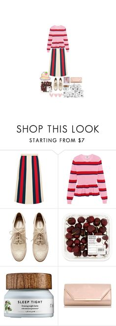 """expression // 60217"" by j-xlviii ❤ liked on Polyvore featuring Gucci, MSGM, H&M, Band of Outsiders, Dorothy Perkins, Pink, red, Clutch, gucci and BoldStripes"