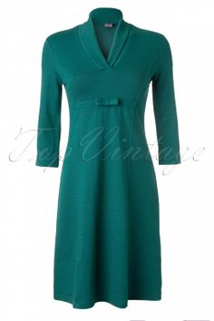 Wow To Go! - 60s Sweet Bow Dress in Petrol