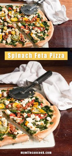 You're going to love this Homemade Spinach Feta Pizza. We all love pizza, right? But a benefit of Homemade pizza that you don't always get with pizza is that you can sneak in extra servings of fresh vegetables and your kids will actually eat it. That's definitely true for this pizza which comes topped with a generous serving of fresh spinach and lots of fresh tomatoes. Spinach by itself often gets rejected by kids, but Spinach Feta Pizza gets the thumbs up. Try a vegetable pizza toni