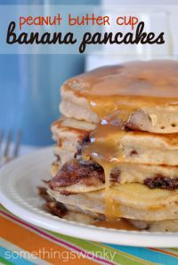 Peanut Butter Cup Banana Pancakes on MyRecipeMagic.com. You will never go back to regular pancakes! These are amazing!