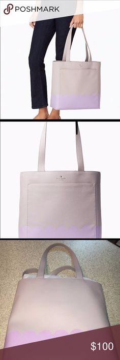 Kate Spade purse Light gray with lilac scallop trim f30c61968cfe2