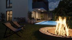 Wie wäre es mit einer coolen Feuerstelle neben dem  Pool? New Age, Patio, Outdoor Decor, Home Decor, Human Settlement, Fire Pit Screen, Projects, Homes, Homemade Home Decor