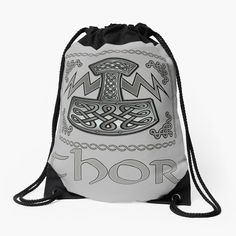 'Thor Celtic God' Drawstring Bag by KrasiStaleva Iphone Wallet, Sell Your Art, Woven Fabric, Thor, Chiffon Tops, Drawstring Backpack, Celtic, Classic T Shirts