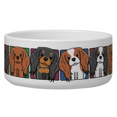 Colorful Cartoon Cavalier King Charles Spaniels Dog Food Bowls