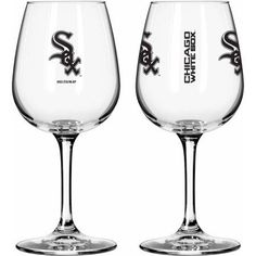 Boelter Brands MLB Set of Two 12 Ounce Wine Glass Set, Chicago White Sox, Clear