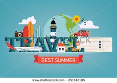 Vector cool detailed flat horizontal web banner or site page header image template on best summer travel, touristic destinations, water activities with surf boards, lighthouse, air plane boarding pass - stock vector