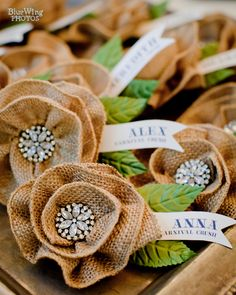 burlap flower corsages. Oh the possibilities. Can you say napkin ring, broach, embellishment for pillows. Can't wait to do something with this one.