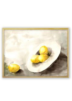 A white hat full of lemons, painting, watercolors on paper