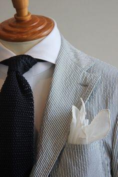 seer-sucker and linen pocket square
