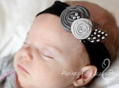 Items similar to Gray Fabric Rosette, Interchangeable Snap Accessory on Etsy - diybaby Fabric Rosette, Rosettes, Fabric Flowers, Gray Fabric, Diy Baby Headbands, Diy Headband, Rosette Headband, Headband Crochet, Kanzashi