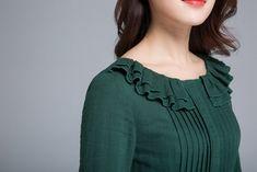 linen dress, long sleeve dress, maxi dress 1651 xiaolizi is part of Linen dress - Salwar Neck Designs, Neck Designs For Suits, Kurta Neck Design, Neckline Designs, Kurta Designs Women, Designs For Dresses, Dress Neck Designs, Blouse Designs, Kurti Sleeves Design