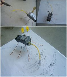 DIY Kinetic Drawing Bug - Drawing & Painting Without Pencils or Paint | Handmade Charlotte http://bkids.typepad.com/bookhoucraftprojects/2008/04/project14-kinet.html