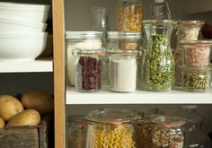 pantry staples and beautiful organization with weck jars.