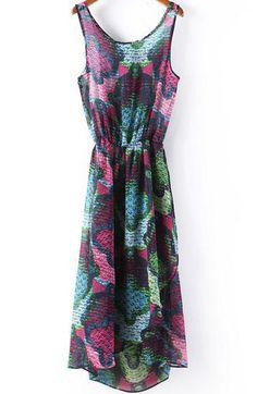 Purple Sleeveless Floral Belt Pleated Dress 16.67