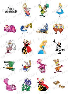 20 Nail Decals Alice in Wonderland Character Themed Water Slide Nail Decals   eBay