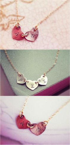 So precious. Hand cut and stamped sterling silver heart charm with any your sorority letters. This necklace is oxidized and polished to give it a rustic look so it goes well with the 14kt gold filled chain to get the gold/black silver contrast. Wear your greek letters with pride! | Made on Hatch.co