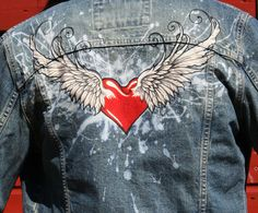 Winged Heart woman's denim jacket. Hand painted, bleached by AngelBlueArt on Etsy