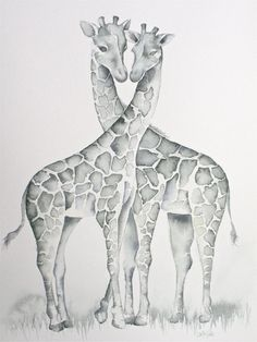 Giraffes in Love, Original Watercolor Painting by Katrina Pete, 11x14 inches on Arches cotton watercolor paper
