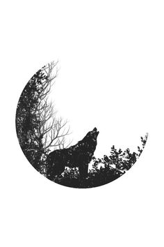 Coyote Howling - Moon Silhouette Premium 1000 Piece Jigsaw Puzzle, Made in Simple Wolf Tattoo, Wolf And Moon Tattoo, Howling Wolf Tattoo, Wolf Howling, Tattoos Skull, Body Art Tattoos, Tribal Tattoos, Abstract Tattoos, Watercolor Tattoos