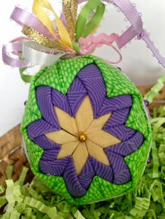 Folded Fabric Quilted Easter Egg in Purple by MulberryPatchQuilts