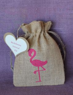 Bachelorette survival kit flamingo bag wedding by MadyBellaDesigns