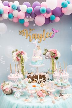 com - - Pastell Meerjungfrau Geburtstagsfeier - Kara's Party Ideas . Mermaid Theme Birthday, Little Mermaid Birthday, Little Mermaid Parties, 3rd Birthday Parties, Birthday Party Decorations, Birthday Ideas, 10th Birthday, Mermaid Baby Showers, Festa Party