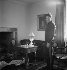Cecil Beaton, Lucian Freud and Caroline Blackwood, Coombe Priory, Dorset, 1956