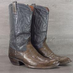 Vtg Brahma Genuine Lizard Skin Exotic Cowboy Boots 9.5 D