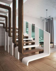 Modern Staircase Design Ideas - Modern stairs can be found in many styles and designs that can be actual eye-catcher in the various location. We have actually put together finest 10 modern models of stairs that can offer. Interior Stairs, Home Interior Design, Interior Architecture, Interior Decorating, Modern Interior, Architecture Colleges, Stairway Decorating, Ikea Interior, Creative Architecture
